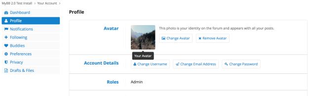 Profil-Seite des neue Benutzer-CPs