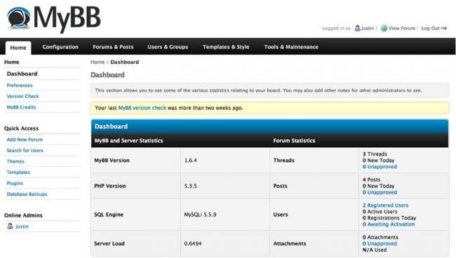 Screenshot des Admin-CPs von MyBB 1.8
