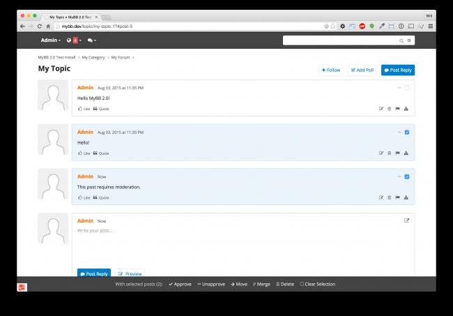 Auswählen und Verwalten mehrere Beiträge innerhalb eines Themas. Beachte, dass die Leiste am Fuß der Seite mitscrollt um sofortigen Zugriff auf die Moderations-Werkzeuge zu erlauben.